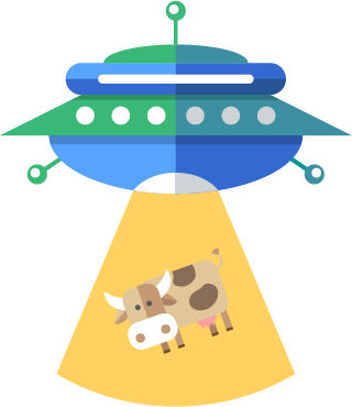 Aliens abducting a cow